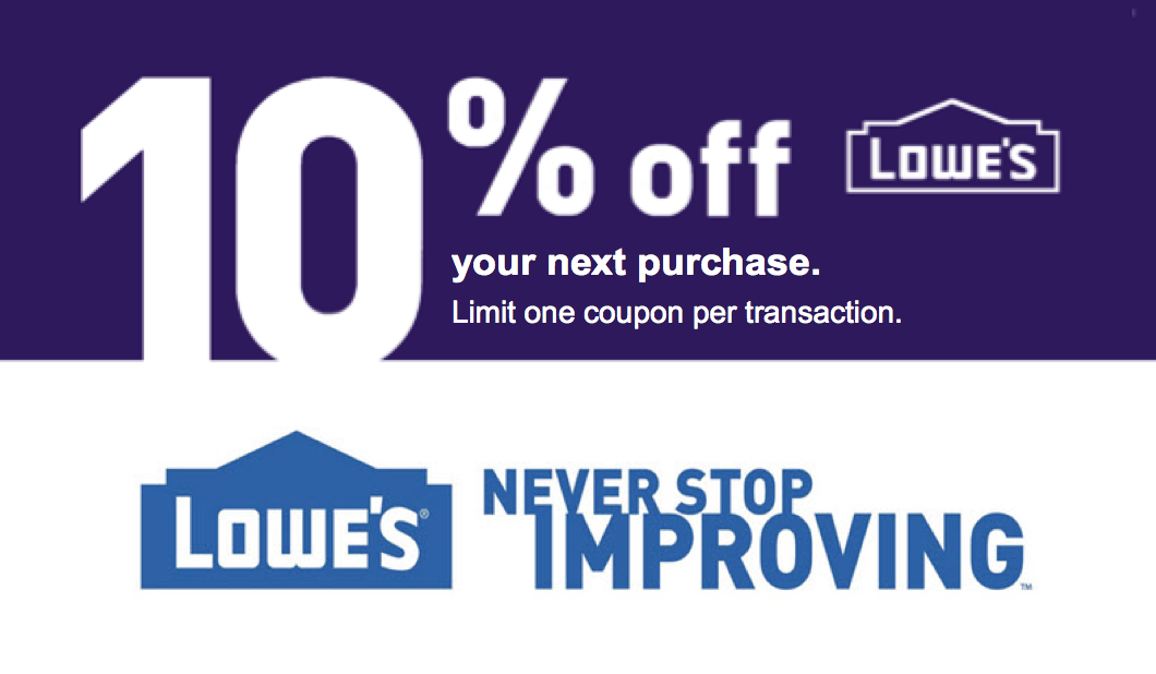 photo relating to Lowes 10% Printable Coupon named A single (1X) 10% Off Printable Coupon