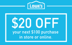 ONE (1X) $20 Off $100 Printable Coupon