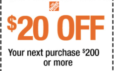 ONE (1X) $20 OFF $200 Printable Coupon