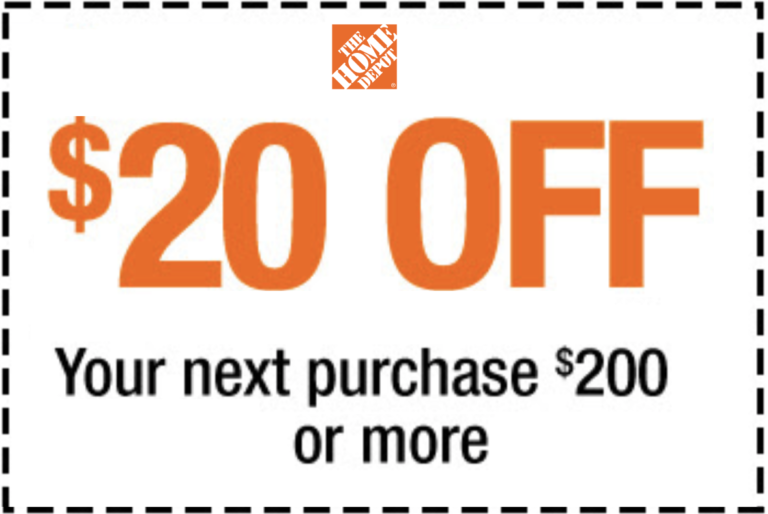 Home Depot $20 Off $200 Printable Coupon Delivered