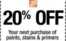 ONE (1X) 20% OFF Paints, Stains, and Primers